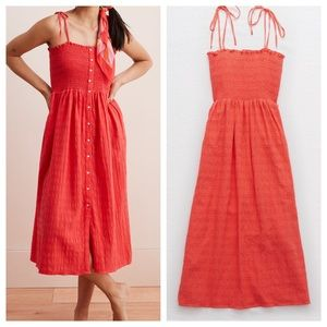 AERIE Smocked Button Down Dress in Red / Coral
